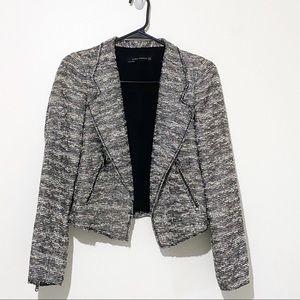 Zara Woman tweed Moto blazer